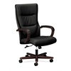 basyx by HON HVL844 Executive High-Back Chair | Center-Tilt, Tension, Lock | Fixed Arms | Wood Trim | Mahogany Finish | Black SofThread Leather