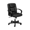basyx by HON HVL171 Executive Mid-Back Chair | Center-Tilt, Tension, Lock | Fixed Arms | Black SofThread Leather