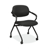 HVL303 Floating Back Nesting Chair | Casters | Fixed Arms | Black Frame | Black Fabric | 1 per Carton