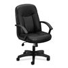 basyx by HON HVL601 Executive High-Back Chair | Center-Tilt, Tension, Lock | Fixed Arms | Black SofThread Leather