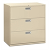 "HON Brigade 600 Series Lateral File | 3 Drawers | Bright Aluminum Pull | 42""W x 19-1/4""D x 40-7/8""H 
