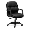 HON Pillow-Soft Mid-Back Task Chair | Center-Tilt, Tension, Lock | Fixed Arms | Black Leather