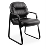 HON Pillow-Soft Guest Chair | Fixed Arms | Black Leather