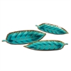 Deep Sea Blue Decorative Leaf Plates