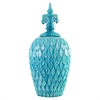 Textured Turquoise Blue Urn - Medium