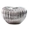 Ribbed Electroplated Ceramic Vase Short