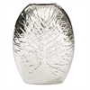 Metallic Silver Crackled Leaf Vase - Large