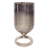 Blue-Gray Antiqued Hurricane Glass Holder - Large