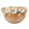 Caramelized Glass with Rustic Aluminum Rim Bowl