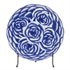 Blue and White Abstract Rose Ceramic Charger with Stand