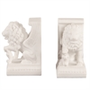 White Faux Marble Lion Book Ends