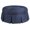 Ava Round Pleated Upholsterd Ottoman in Urban Graphite