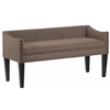 Whitney Long Upholstered Bench with Arms and Nailhead Trim in Lisburn Rattan