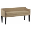 Whitney Long Upholstered Bench with Arms and Nailhead Trim in Brooke Pecan
