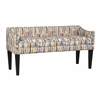 Whitney Long Upholstered Bench with Arms and Nailhead Trim in Paint Strokes Hydrangea