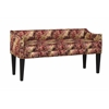 Whitney Long Upholstered Bench with Arms and Nailhead Trim in Leflour Ruby