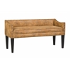 Whitney Long Upholstered Bench with Arms and Nailhead Trim in Bomber Jacket Pinto