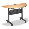 Flipper Training Table, Half-Round, 48w x 24d x 29-1/2h, Teak/Black