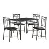 Dining Set - 5Pcs Set / Grey Marble / Charcoal Metal