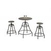 Dining Set - 3Pcs Set / Distressed Brown / Bronze Metal