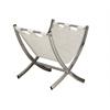 Magazine Rack - White Leather-Look / Chrome Metal