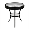 "Accent Table - 22""Dia / Black With Tempered Glass"
