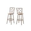 Barstool - 2Pcs / Swivel / Brown / Beige Fabric Seat