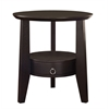 """Accent Table - 23""""Dia / Cappuccino With 1 Drawer"""