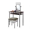 Vanity Set - 2Pcs Set / Cappuccino / Silver Metal