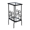 """Accent Table - 30""""H / Black Metal With Tempered Glass"""