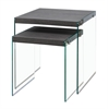 Nesting Table - 2Pcs Set / Grey With Tempered Glass
