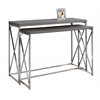 Console Table - 2Pcs / Grey With Chrome Metal