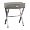 Accent Table - Dark Taupe / Chrome Metal Night Stand