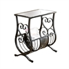 Accent Table - Satin Black Metal  With Tempered Glass