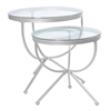 Nesting Table - 2Pcs Set / Silver With Tempered Glass