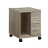 Office Cabinet - Natural With 2 Drawers On Castors