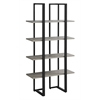 "Bookcase - 60""H / Dark Taupe / Black Metal"