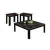 Table Set - 3Pcs Set / Black / Grey / Marble-Look Top