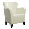 Accent Chair - Ivory Leather-Look Fabric