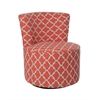 "Accent Chair - Swivel Base / Coral "" Lantern "" Fabric"