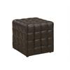 Ottoman - Dark Brown Leather-Look Fabric