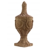 Fiberstone Finial with Engraved Floral Design on Base Natural Finish Tan