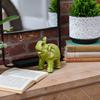 Ceramic Trumpeting Standing Elephant Figurine with Ceremonial Blanket Gloss Finish Yellow Green