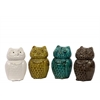 Ceramic Owl Figurine Assortment of Four Assorted Color Gloss Finish (White,Olive,Cyan and Brown)
