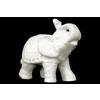 Ceramic Trumpeting Standing Elephant Figurine with Ceremonial Blanket Gloss Finish White