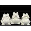 Ceramic Sitting Frog No Evil (See/Hear/Speak) Figurine Assortment of Three Gloss Finish White