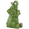Ceramic Trumpeting and Sitting Up Elephant Figurine with Arms Crossed LG Gloss Finish Green