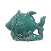 Ceramic Fish Figurine on Seaweed Base Distressed Gloss Finish Cadet Blue