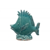 Ceramic Fish Figurine with Open Dorsal Fins on Seaweed Base Distressed Gloss Finish Cadet Blue