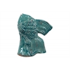 Ceramic Fish Figurine Looking Upward on Seaweed Base Distressed Gloss Finish Cadet Blue